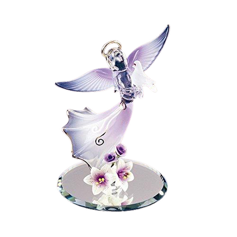 Glass Baron Purple Angelic Figurine holding White Dove with Swarovski Crystal Eyes