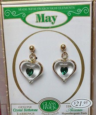 "Glass Baron ""May Birthstone Heart Earrings"" Accented with Green Heart-Shaped Crystals"