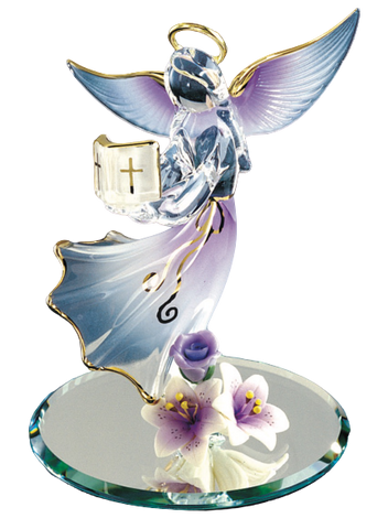 Glass Baron Lavender Angel Holding Bible Figurine with Purple and White Ceramic Flowers