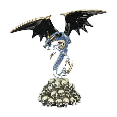 Glass Baron Mystical Skull Crusher Dragon Figurine Accented with Swarovski Crystals and 22Kt Gold