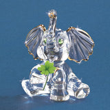 "Glass Baron Handcrafted ""Lucky the Elephant"" Figurine Accented with Swarovski Crystals and 22kt Gold"