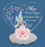 Glass Baron Wonderful Mom Hummingbird Pink Rose Figurine Accented with Crystal