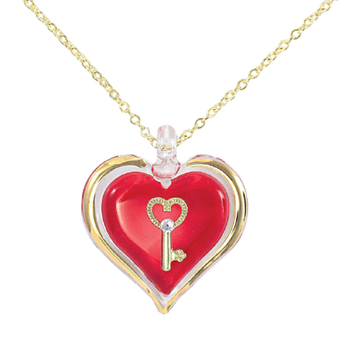 Glass Baron Red Heart-Shaped Pendant with Key, Accented with Swarovski Crystals and Real 22Kt Gold