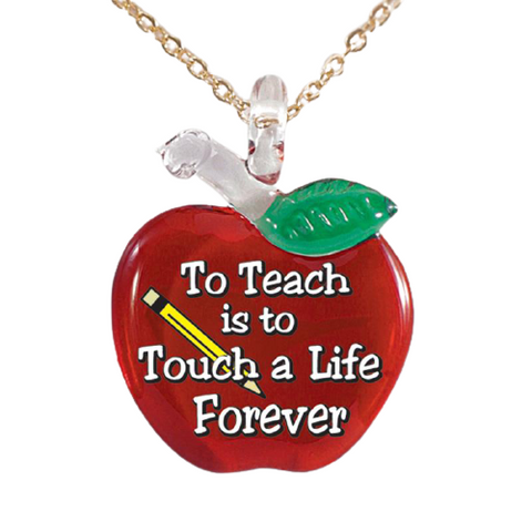 "Glass Baron Handcrafted Teacher Necklace Apple-Shaped Pendant Hanging From 18"" Gold Plated Chain"
