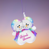 Glass Baron Handcrafted Snow Friends Figurine Embossed with Friends Forever with Airbrushed Accents