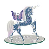 Glass Baron Handcrafted Unicorn with Purple Fairy Figurine Accented with Swarovski Crystals