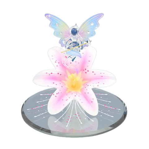 Handcrafted Glass Baron Fairy Figurine Accented with Swarovski Crystal Glass Baron Mirror Base