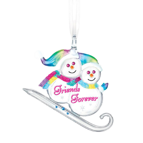 "Glass Baron Handcrafted Snowman Ornament ""Friends Forever"" Accented with Swarovski Crystals"