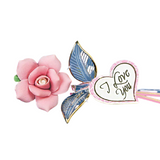"Glass Baron Pink Rose Crystal Heart Embossed with ""I Love You"" Accented with Real 22kt Gold"