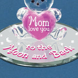 Glass Handcrafted Bear Figurine with Pink Heart Love You Mom Glass Baron Mounted on Mirror Base
