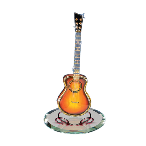 Glass Baron Handcrafted Acoustic Sunburst Guitar Figurine with Swarovski Crystal 22kt Gold Accents