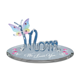 "Glass Baron Mom ""We Love You"" Figurine Butterfly Art Gift Decorated with Swarovski Crystal and Accented in 22kt Gold on Beveled Mirror Base"