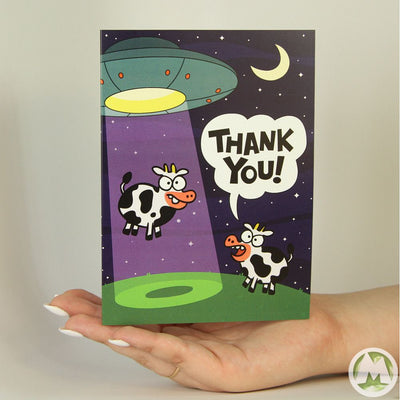 Abducted Cow Thank You Funny Greeting Card MemoryTag Greeting Cards-Greeting Card-MemoryTag Greeting Cards
