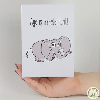 Age is Irr-Elephant Funny Greeting Card MemoryTag Greeting Cards-Greeting Card-MemoryTag Greeting Cards