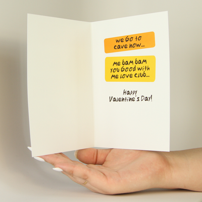 Caveman Valentine's Day Funny Greeting Card MemoryTag Greeting Cards-Greeting Card-MemoryTag Greeting Cards