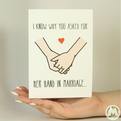 Her Hand in Marriage Funny Greeting Card MemoryTag Greeting Cards-Greeting Card-MemoryTag Greeting Cards
