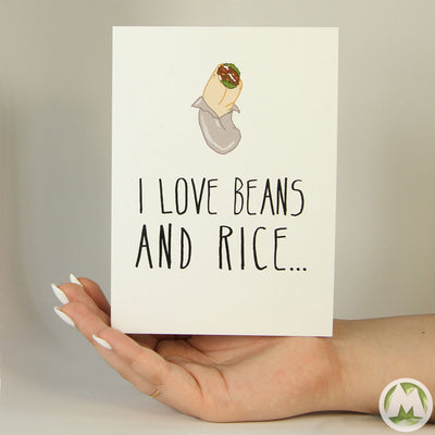 I Love your Burrito Funny Greeting Card MemoryTag Greeting Cards-Greeting Card-MemoryTag Greeting Cards