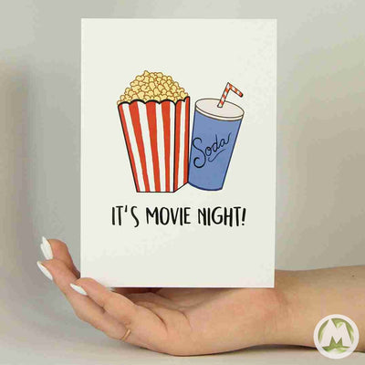 It's Movie Night! Anniversary Funny Greeting Card MemoryTag Greeting Cards-Greeting Card-MemoryTag Greeting Cards