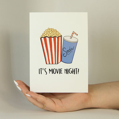 It's Movie Night Funny Greeting Card MemoryTag Greeting Cards-Greeting Card-MemoryTag Greeting Cards