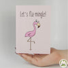 Let's Fla-Mingle! Funny Greeting Card MemoryTag Greeting Cards-Greeting Card-MemoryTag Greeting Cards