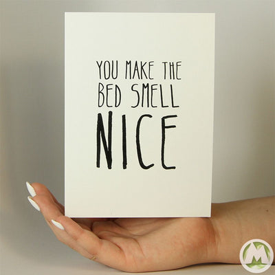 Make The Bed Smell Nice Funny Greeting Card MemoryTag Greeting Cards-Greeting Card-MemoryTag Greeting Cards