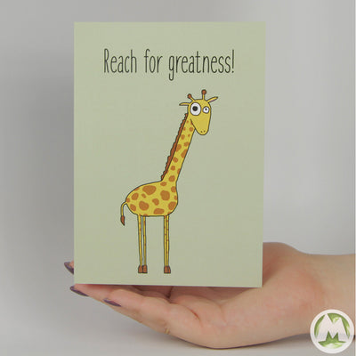 Reach For Greatness Funny Greeting Card MemoryTag Greeting Cards-Greeting Card-MemoryTag Greeting Cards