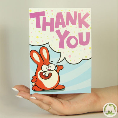 Thank You Bunny Funny Greeting Card MemoryTag Greeting Cards-Greeting Card-MemoryTag Greeting Cards