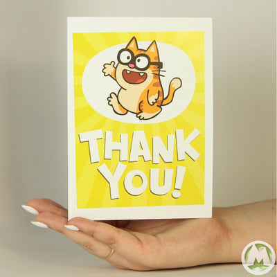 Thank You Cat Funny Greeting Card MemoryTag Greeting Cards-Greeting Card-MemoryTag Greeting Cards