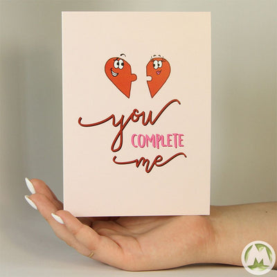 You Complete Me Funny Greeting Card MemoryTag Greeting Cards-Greeting Card-MemoryTag Greeting Cards