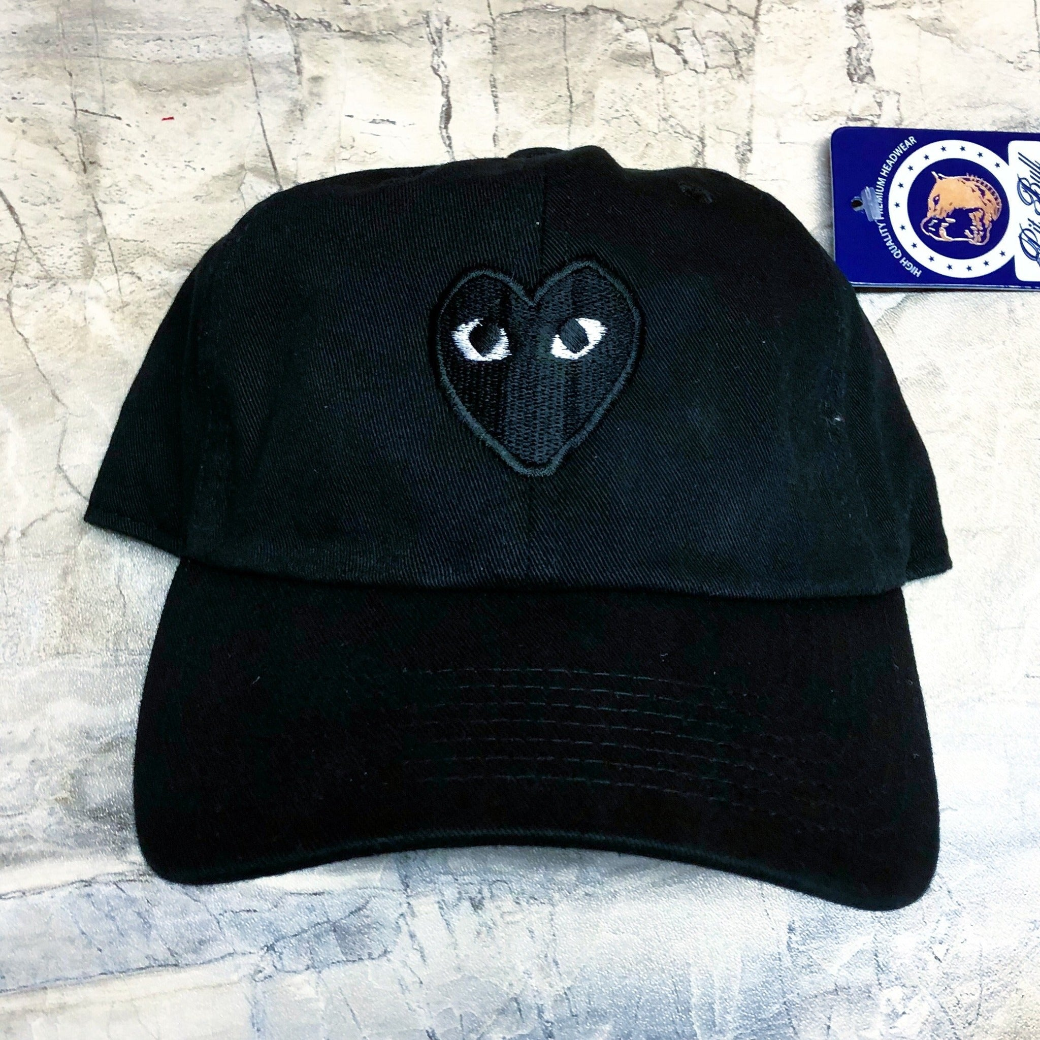 Buy Black heart dad hat strapback cap at The Hat Plug for only  20.00 a8aaf64653f
