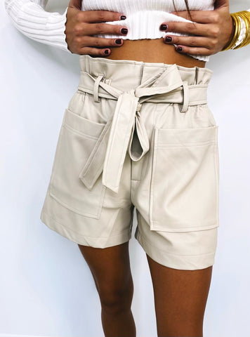 Taupe High Waisted Shorts