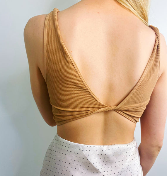 Reversible Sand Beige Twist Bra Top