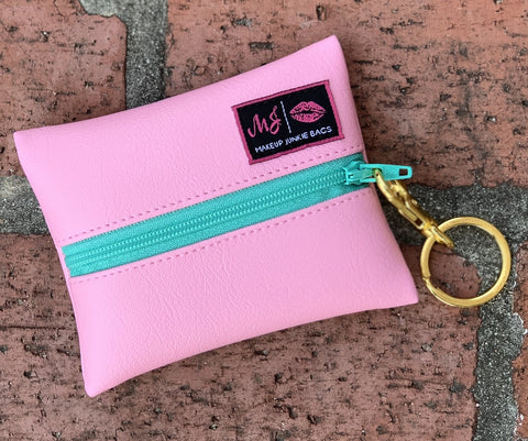 Makeup Junkie Bags - Baby Pink with Mint zipper *Estimated to Ship by 7.17.2020*