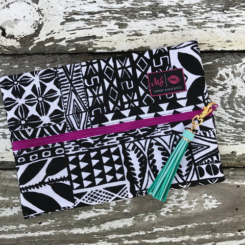 Makeup Junkie Bags - Bohemian *Lime Green Interior