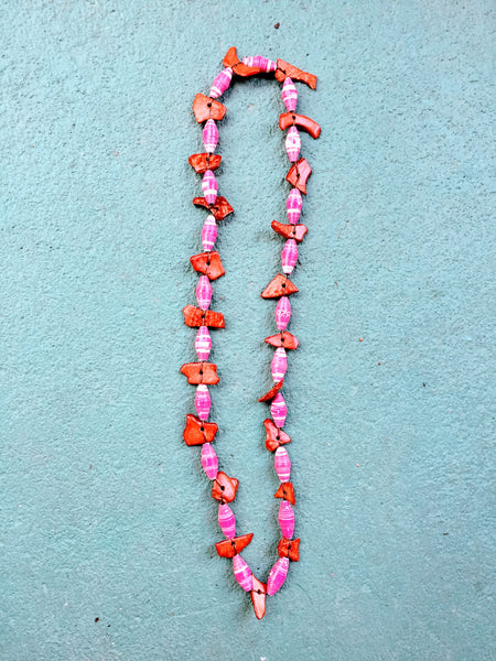 Bliss Necklace in Crimson and Pink