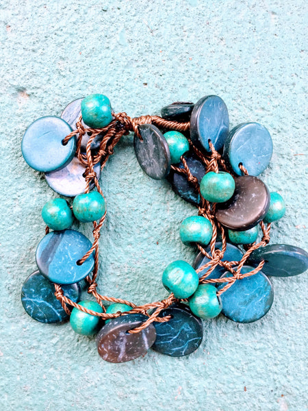 Beautifully Brazen Bracelet in Cyan and Dark Blue