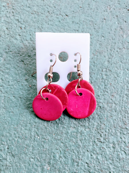 Hearken Dangle Earrings in Cerise Pink