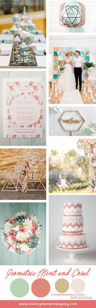 Wedding Inspiration | Geometric Fun | Coral and Mint Theme
