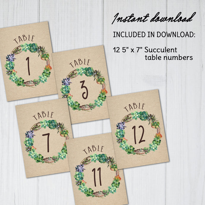 Friday Freebie | Free Printable Succulent Table Numbers | Succulent Weddings