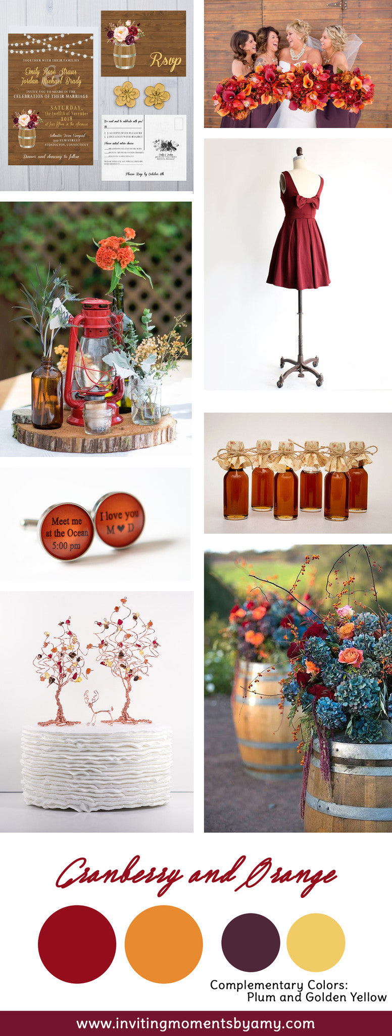 Cranberry and Orange Wedding Colors