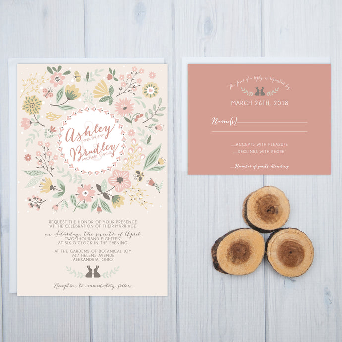 Woodland Rabbits Wedding Invitation Set