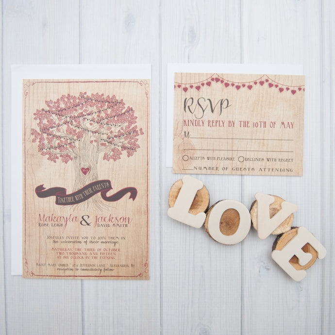 Oak Tree Wood Plank Wedding Invitation Set