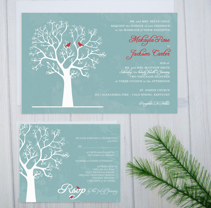 Winter Love Birds Wedding Invitation Set