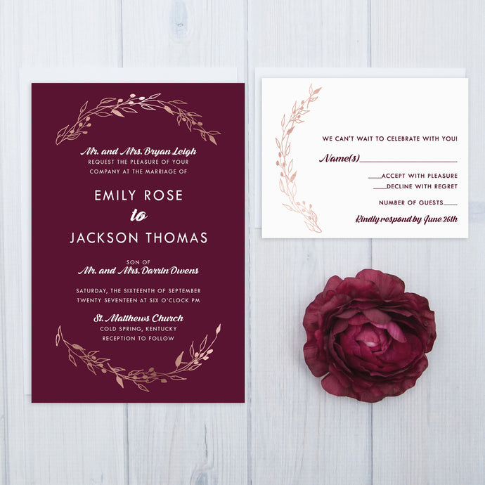 Rose Gold Laurel Wedding Invitation Set