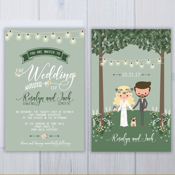 Pug Dog Wedding Invitation Set
