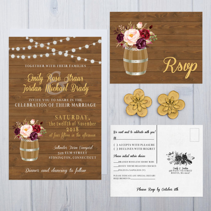 Wine Barrel Wedding Invitation Set