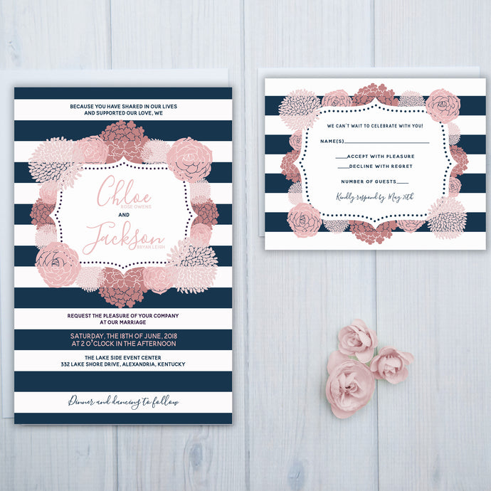Navy Blue Stripe Wedding Invitation Set
