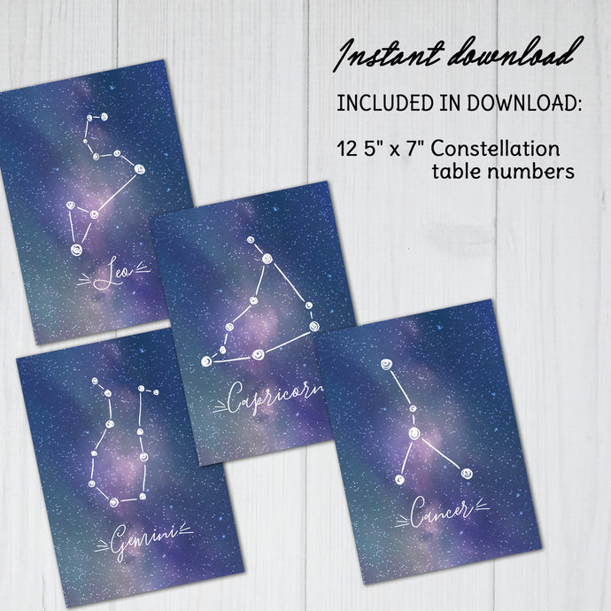 Constellation Table Numbers | Wedding Reception Printable