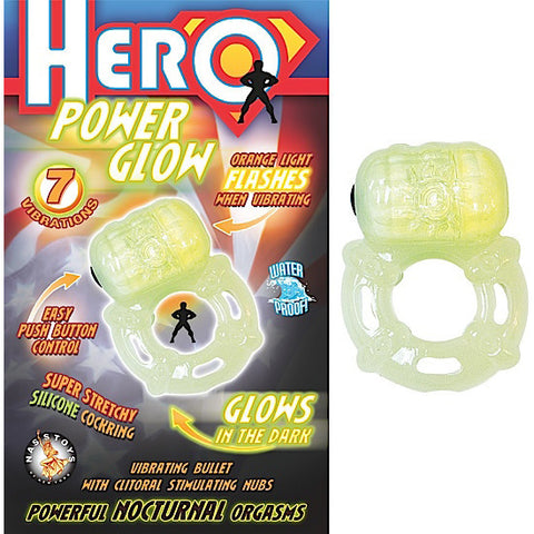POWER GLOW-GLOW IN THE DARK COCK RING - Red Rose Toys