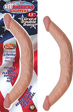 "ALL AMERICAN WHOPPERS 13"" CURVED DOUBLE DONG-FLESH"
